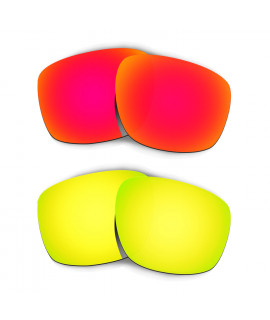 Hkuco Mens Replacement Lenses For Oakley Sliver Red/24K Gold Sunglasses
