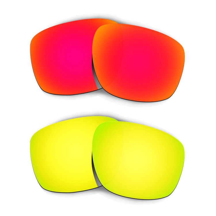 619b8302bea Hkuco Mens Replacement Lenses For Oakley Sliver Red 24K Gold Sunglasses