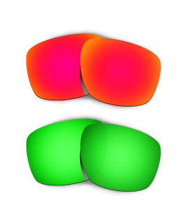 Hkuco Mens Replacement Lenses For Oakley Sliver Red/Emerald Green Sunglasses