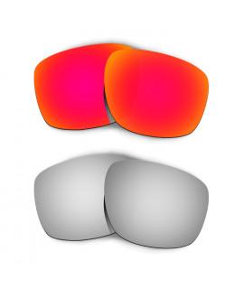 Hkuco Mens Replacement Lenses For Oakley Sliver Red/Titanium Sunglasses