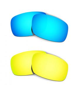 Hkuco Mens Replacement Lenses For Oakley Crankshaft Blue/24K Gold Sunglasses