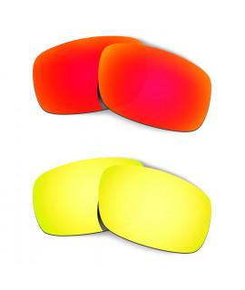 Hkuco Mens Replacement Lenses For Oakley Crankshaft Red/24K Gold Sunglasses