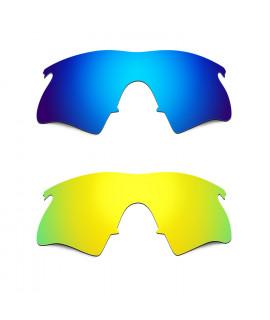 Hkuco Mens Replacement Lenses For Oakley M Frame Heater Blue/24K Gold Sunglasses