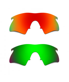 Hkuco Mens Replacement Lenses For Oakley M Frame Heater Red/Emerald Green Sunglasses