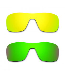 Hkuco Mens Replacement Lenses For Oakley Turbine Rotor 24K Gold/Emerald Green Sunglasses