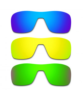 Hkuco Mens Replacement Lenses For Oakley Turbine Rotor Blue/24K Gold/Emerald Green Sunglasses