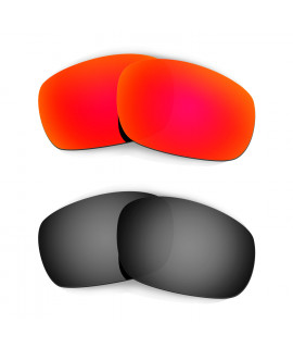 Hkuco Mens Replacement Lenses For Oakley Racing Jacket Red/Black Sunglasses