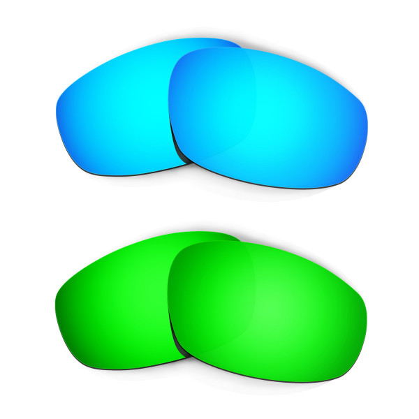 Hkuco Mens Replacement Lenses For Oakley Wind Jacket Blue/Green Sunglasses