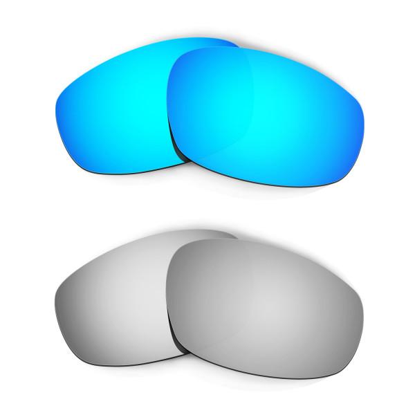 Hkuco Mens Replacement Lenses For Oakley Wind Jacket Blue/Titanium Sunglasses