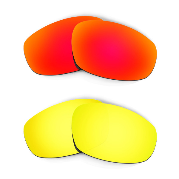 Hkuco Mens Replacement Lenses For Oakley Wind Jacket Red/24K Gold Sunglasses
