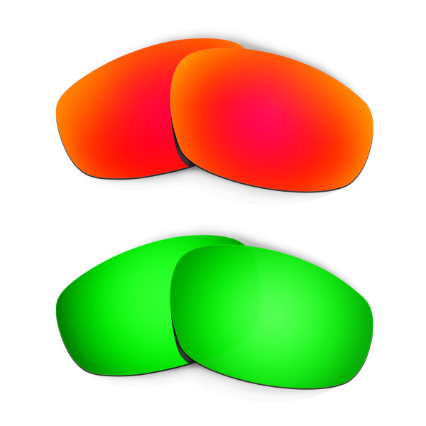 Hkuco Mens Replacement Lenses For Oakley Wind Jacket Red/Emerald Green Sunglasses