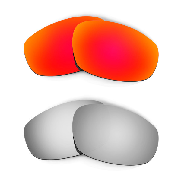 Hkuco Mens Replacement Lenses For Oakley Wind Jacket Red/Titanium Sunglasses