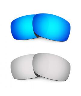 Hkuco Mens Replacement Lenses For Oakley Fives 3.0 Blue/Titanium Sunglasses