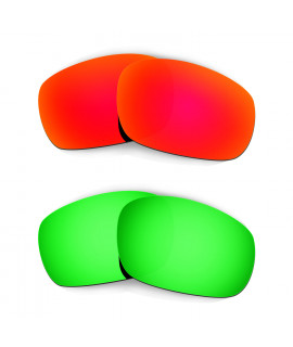 Hkuco Mens Replacement Lenses For Oakley Jawbone (Asian Fit) Red/Emerald Green Sunglasses