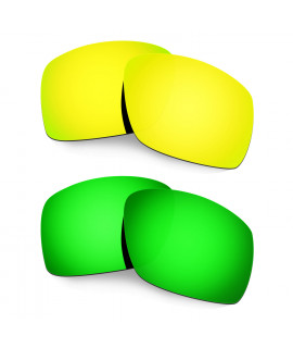 Hkuco Mens Replacement Lenses For Oakley Big Taco 24K Gold/Emerald Green Sunglasses