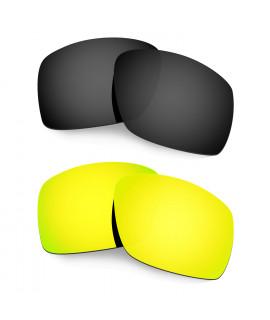 Hkuco Mens Replacement Lenses For Oakley Big Taco Black/24K Gold Sunglasses