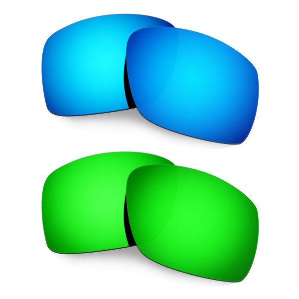 Hkuco Mens Replacement Lenses For Oakley Big Taco Blue/Green Sunglasses