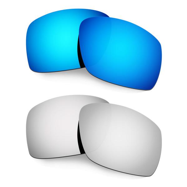 Hkuco Mens Replacement Lenses For Oakley Big Taco Blue/Titanium Sunglasses