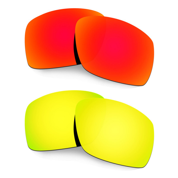 Hkuco Mens Replacement Lenses For Oakley Big Taco Red/24K Gold Sunglasses