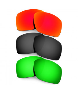 Hkuco Mens Replacement Lenses For Oakley Big Taco Red/Black/Emerald Green Sunglasses