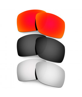 Hkuco Mens Replacement Lenses For Oakley Big Taco Red/Black/Titanium Sunglasses