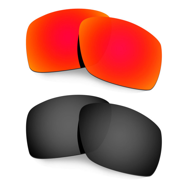 Hkuco Mens Replacement Lenses For Oakley Big Taco Red/Black Sunglasses