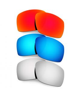 Hkuco Mens Replacement Lenses For Oakley Big Taco Red/Blue/Titanium Sunglasses