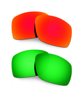 Hkuco Mens Replacement Lenses For Oakley Big Taco Red/Emerald Green Sunglasses