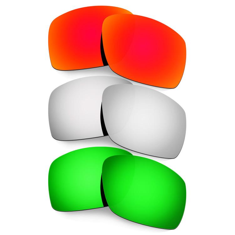 ccb61773b2 Hkuco Mens Replacement Lenses For Oakley Big Taco Red Titanium Emerald  Green Sunglasses
