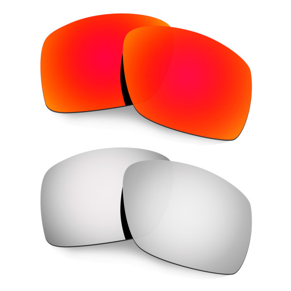 Hkuco Mens Replacement Lenses For Oakley Big Taco Red/Titanium Sunglasses