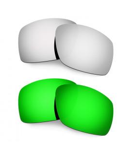 Hkuco Mens Replacement Lenses For Oakley Big Taco Titanium/Emerald Green  Sunglasses
