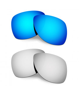 Hkuco Mens Replacement Lenses For Oakley Dispatch 2 Blue/Titanium Sunglasses