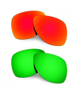 Hkuco Mens Replacement Lenses For Oakley Dispatch 2 Red/Emerald Green Sunglasses