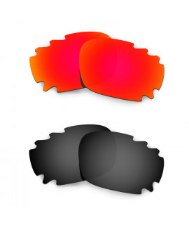 Hkuco Mens Replacement Lenses For Oakley Racing Jacket (Asian Fit) Vented Red/Black Sunglasses