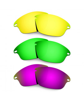 Hkuco Mens Replacement Lenses For Oakley Fast Jacket 24K Gold/Emerald Green/Purple Sunglasses