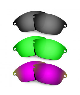 Hkuco Mens Replacement Lenses For Oakley Fast Jacket Black/Emerald Green/Purple Sunglasses