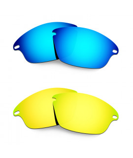 Hkuco Mens Replacement Lenses For Oakley Fast Jacket Blue/24K Gold Sunglasses