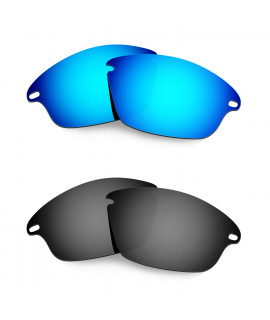 Hkuco Mens Replacement Lenses For Oakley Fast Jacket Sunglasses Blue/Black Polarized