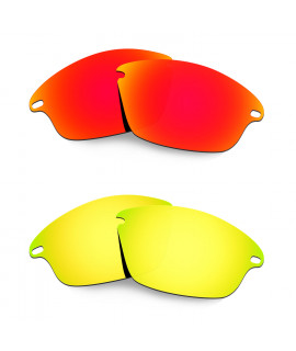 Hkuco Mens Replacement Lenses For Oakley Fast Jacket Red/24K Gold Sunglasses