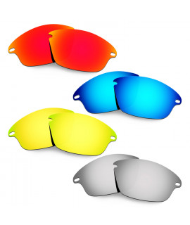 Hkuco Mens Replacement Lenses For Oakley Fast Jacket Red/Blue/24K Gold/Titanium Sunglasses