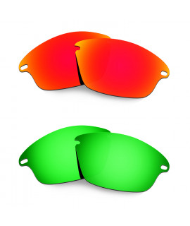 Hkuco Mens Replacement Lenses For Oakley Fast Jacket Red/Emerald Green Sunglasses