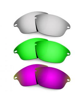 Hkuco Mens Replacement Lenses For Oakley Fast Jacket Titanium/Emerald Green /Purple Sunglasses