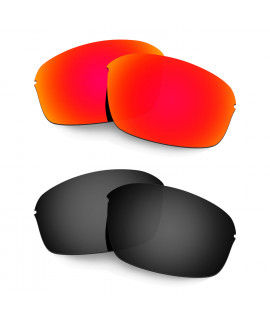 Hkuco Mens Replacement Lenses For Oakley Half Wire 2.0 Red/Black Sunglasses