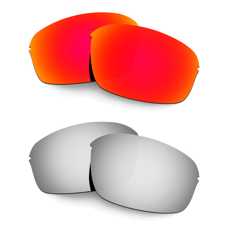 c881b680ba6 Hkuco Mens Replacement Lenses For Oakley Half Wire 2.0 Red Titanium  Sunglasses
