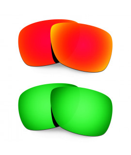 Hkuco Mens Replacement Lenses For Oakley Inmate Red/Emerald Green Sunglasses