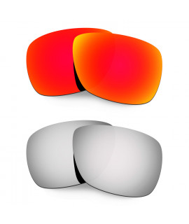 Hkuco Mens Replacement Lenses For Oakley Inmate Red/Titanium Sunglasses