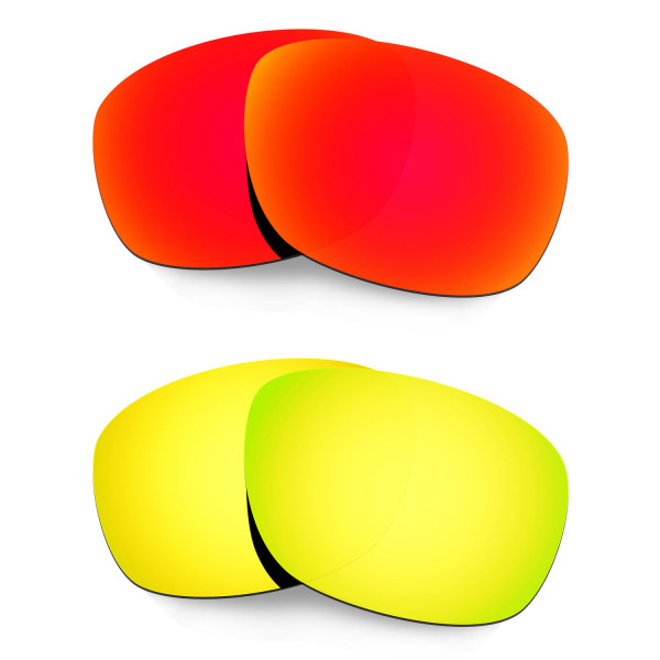 Hkuco Mens Replacement Lenses For Oakley Ten X Red/24K Gold Sunglasses