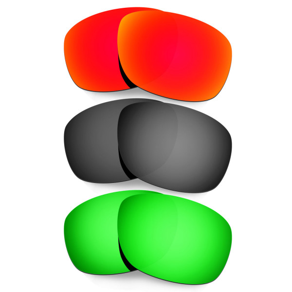 Hkuco Mens Replacement Lenses For Oakley Ten X Red/Black/Emerald Green Sunglasses