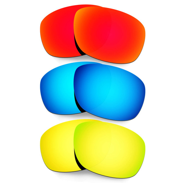 Hkuco Mens Replacement Lenses For Oakley Ten X Red/Blue/24K Gold Sunglasses