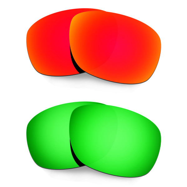 Hkuco Mens Replacement Lenses For Oakley Ten X Red/Emerald Green Sunglasses